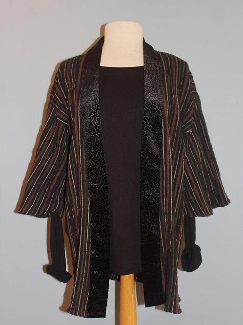 striped kimono with velvet