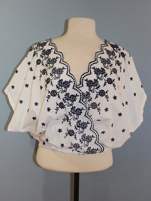 navy and white embroidered cross front top