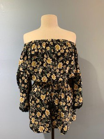 Yellow Floral Romper With Sleeve Detail