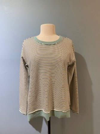 Black And White Stripe Long Sleeve With Sage Trim