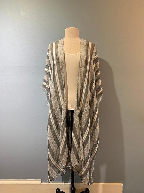 Grey Striped Lightweight Kimono