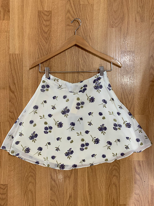Ivory and Purple Floral Skirt
