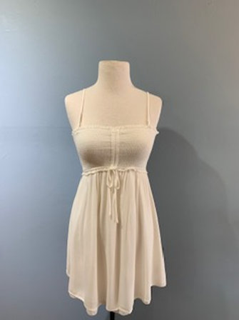 Ivory Spaghetti Strap Dress With Adjustable Top