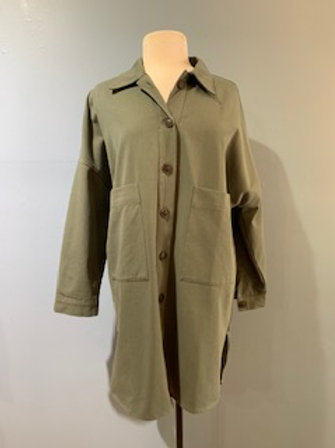Olive Button Front Shirt Jacket