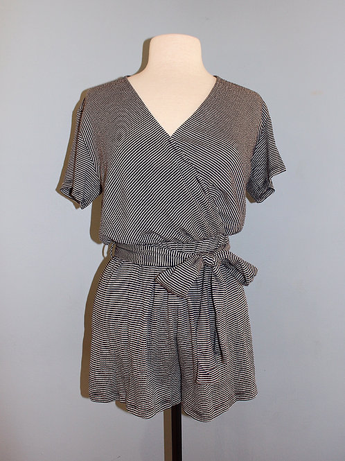 navy stripe knit romper