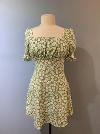 Sage Floral Square Neck Dress