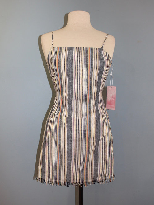 pinstripe tie back dress