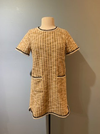 Mustard Check Boucle Dress
