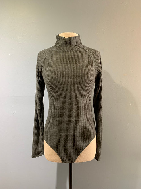 Waffle Knit Bodysuit Grey