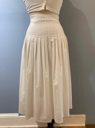 Long Cream Pleated Skirt