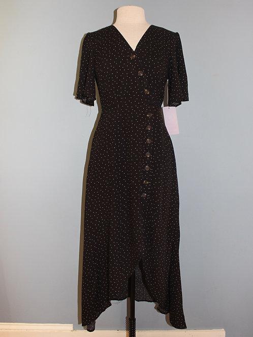 black polka dot midi w/ buttons