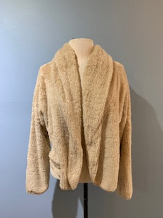 Tan Cropped Teddy Bear Jacket