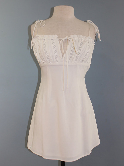 spring white dress with tie straps