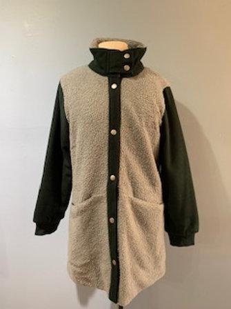 Hunter Green & Grey Sherpa Coat