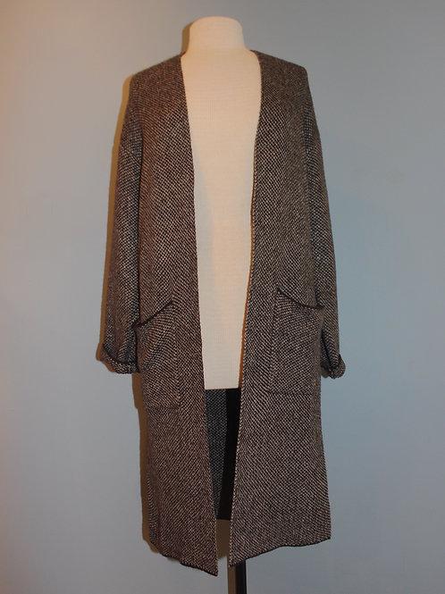 charcoal tweed open jacket