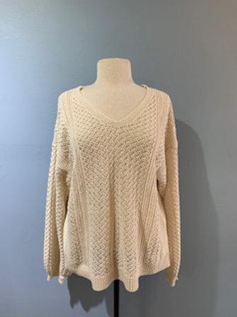 Ivory Pointelle Knit Balloon Sleeve Sweater