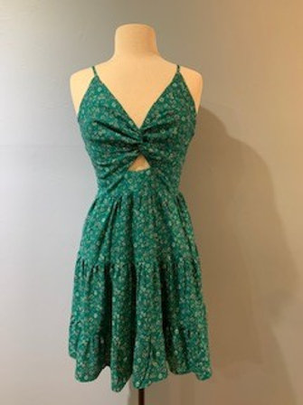 Turquoise Tiny Floral Dress With Front Knot