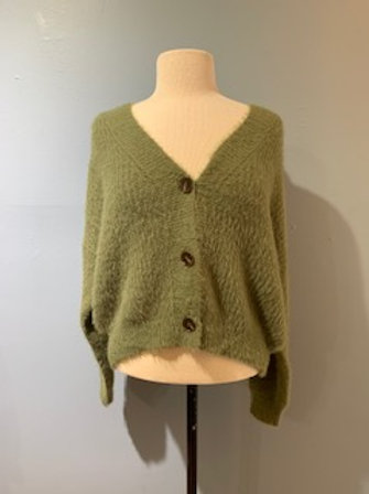 Light Olive Fuzzy Cardigan