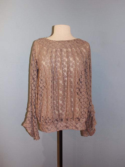 mauve flocked sheer blouse