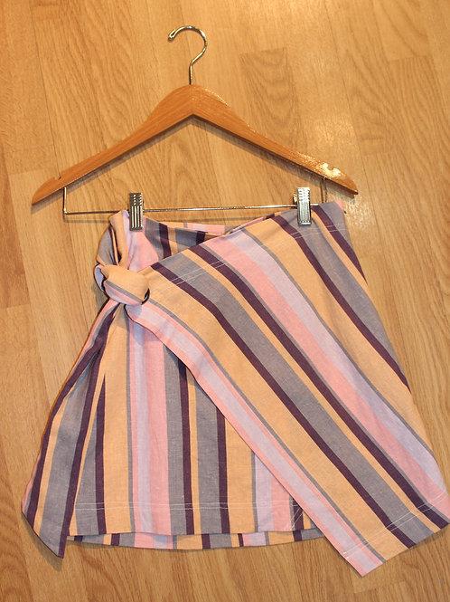 multi stripe wrap mini skirt