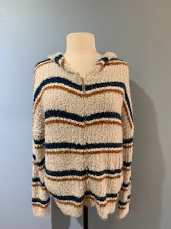 Striped Knit Sweater Jacket Zip Front