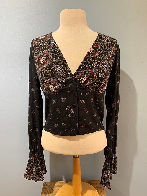 Black/Burgundy Print Blouse