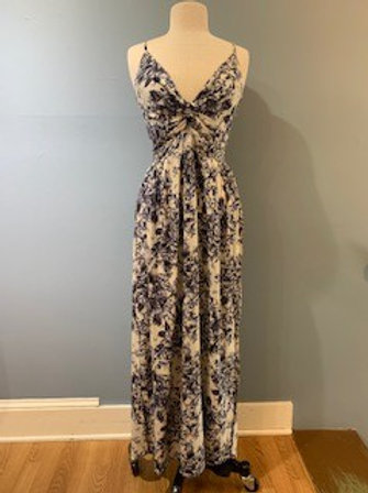 Blue Floral Maxi Dress With Side Slits
