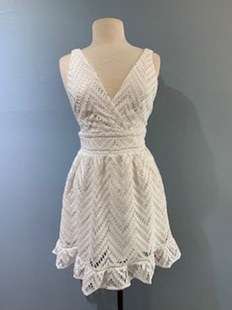 White Lace Detail Dress With Back Zipper