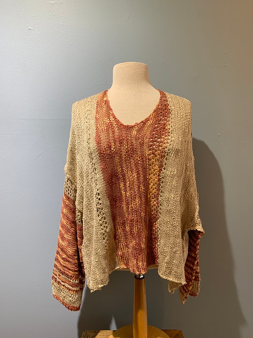Rust & Cream Boho Sweater