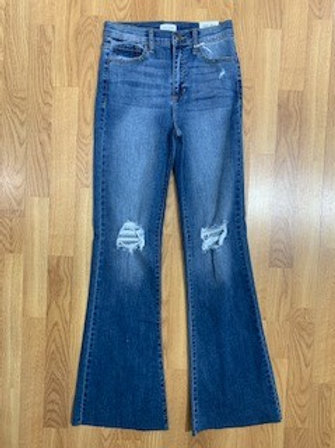 Medium Wash Flare Jeans With Distressed Knee