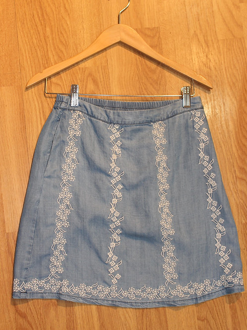 chambray skirt w/ embroidery