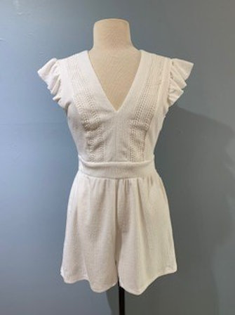 White Romper With Ruffle Sleeve And Back Detail