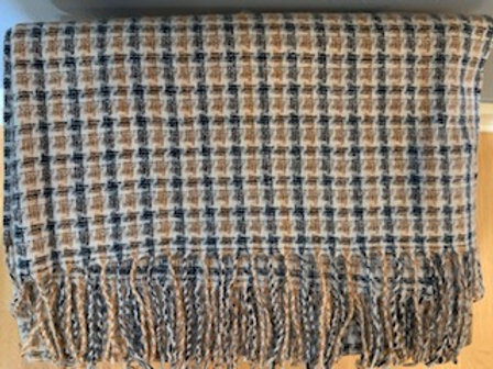 Charcoal and Orange Check Winter Scarf