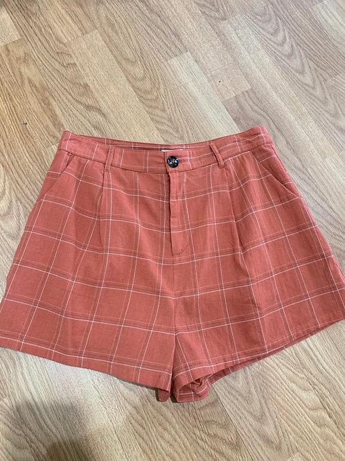 Rust Plaid Shorts