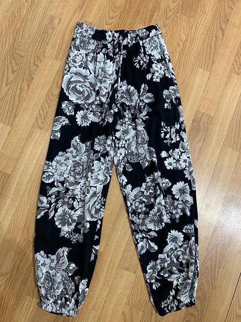 Angie Black Floral Joggers