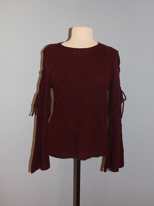 merlot lace up bell sleeve
