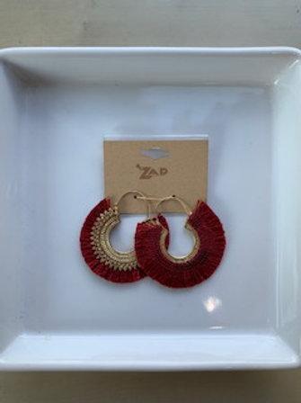 Burgundy Fan Earrings