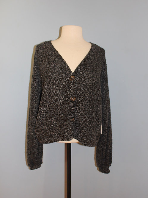 charcoal mixed balloon sleeve cardigan