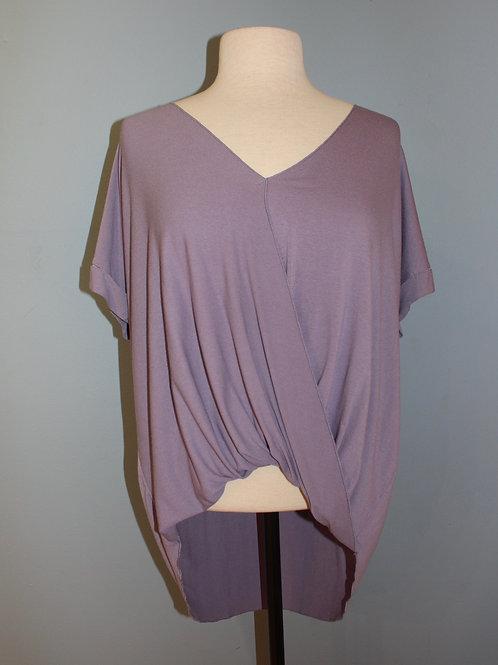 short-sleeve drape front v neck