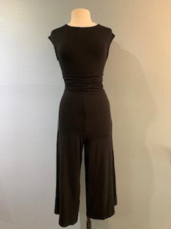 Black Knit Cropped Wide Leg Jumpsuit