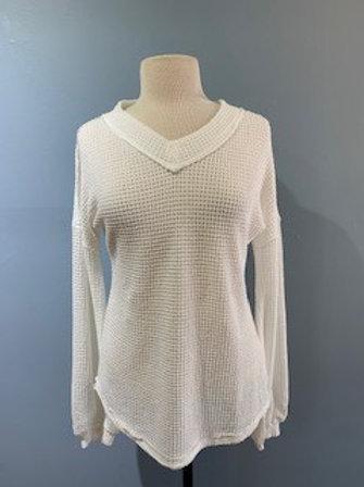White V-Neck Waffle Knit Sweater