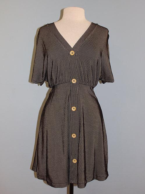 taupe/black stripe knit dress