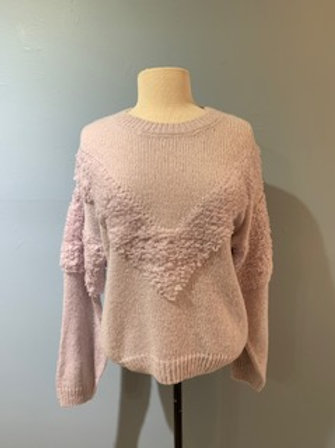 Lilac Textured Balloon Sleeve Sweater