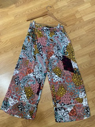Antique Paisley Silk Wide Leg Pants