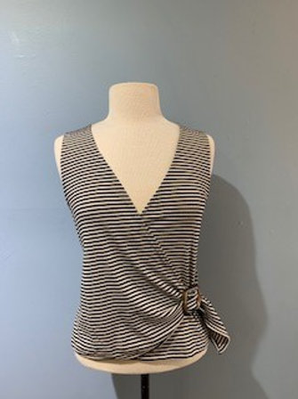 Black & Cream Striped Sleeveless Blouse With Buckle