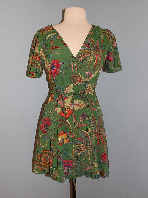 green print wrap front dress