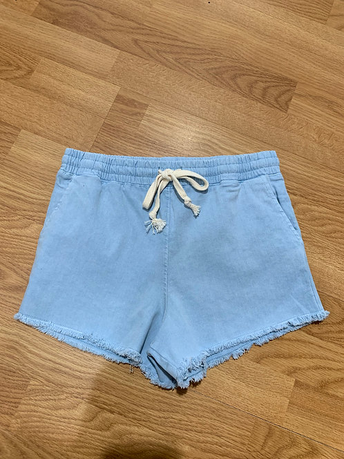Light Denim Drawstring Shorts