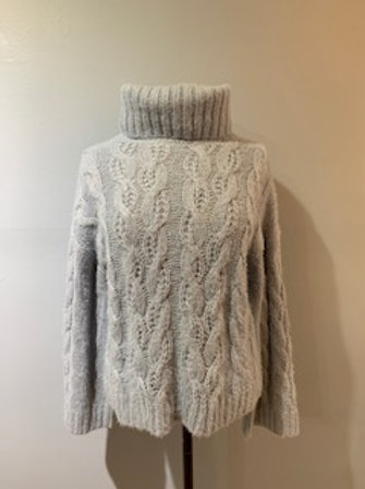 Dusty Blue Cable Turtleneck Sweater