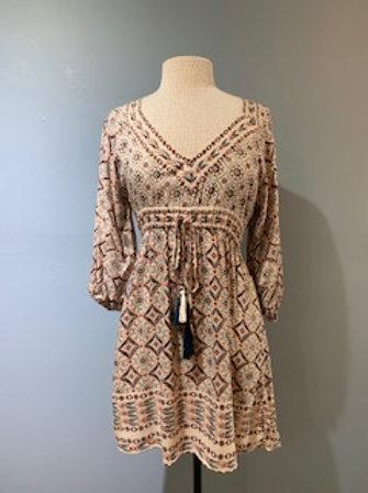Ivory Aztec Print Boho Dress