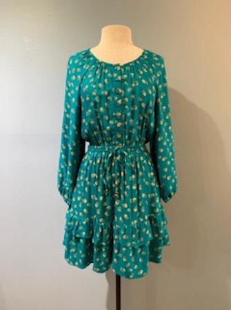 Teal Floral Boho Dress